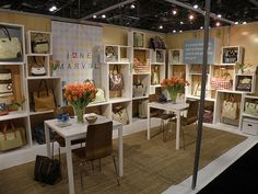 Jane Marvel trade show booth at the Javits Convention Center. Boxes can be reconfigured to fit any size trade show booth.