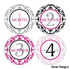 12 Monthly Onesie Waterproof Glossy Stickers  by DavetDesigns2, $7.00