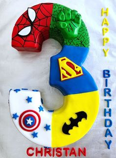 Check out this pin to learn how to make fondant that isn't excessively sweet and goes well with any cake flavor. This could be adapted to a girly or unisex cake - or even Disney cake - eg, my little pony, peppa pig, Barbie Bambi etc etc. Avengers Birthday Cakes, Superhero Birthday Cake, Third Birthday, 3rd Birthday Parties, Birthday Ideas, Torta Angel, Bolo Barbie, Marvel Cake, Avenger Cake