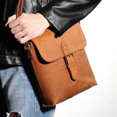 Men/'s Vintage Crazy Horse Genuine Leather Chest Cycle Sling Pack Shoulder Bag