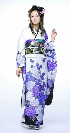 furisode (long sleeves) with floral print. traditional Japanese kimono style for unmarried women