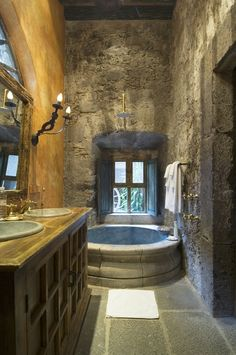 Stone bathroom... I love this...I would feel like I'm in a 17th century castle!