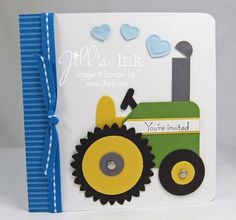 Tractor Baby Shower Invitation 2 Punch Art