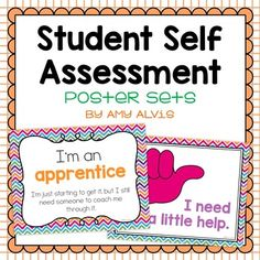 Student self assessment posters. There are 2 different versions: one where students use their hands to quickly show their understanding and the second one allows the students to show what level their learning is at. Formative Assessment Tools, Student Self Assessment, Teaching Study Skills, Data Folders, Classroom Setup, Teaching Materials, Classroom Management, Amy, Students