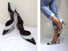 """VALENTINO SEXY! """"D'ORSAY"""" ~~BOSS LADY WINGTIP~~ LEATHER HEELS SHOES 39 8.5 8 1/2 #VALENTINO #PumpsClassics"""