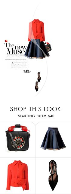 """""""red blazer"""" by vinograd24 ❤ liked on Polyvore featuring Betsey Johnson, L'Autre Chose and Steve Madden"""
