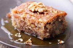 Walnut Cake with Warm Vanilla Honey Sauce Recipe from The Just Desserts Kitchen Greek Desserts, Greek Recipes, Just Desserts, Greek Sweets, Food Cakes, Cupcake Cakes, Cupcakes, Snack Cakes, Cake Recipes