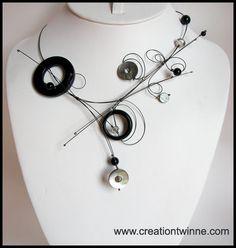 collier noir, collier fait main unique, bijoux des demoiselles d'honneur, collier mariage, collier mariage personnalisé, cadeau de la mère, des bijoux funky,