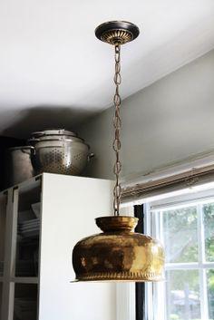 hunted interior: DIY Brass Bowl Pendant Kitchen Sneak Peek - Is your house feeling a little dated? Crystal Lights, Pendant Lamp, Pendant Lighting, Brass Pendant, Light Pendant, Brass Planter, Kitchen Pendants, Copper Kitchen, Kitchen Utensils