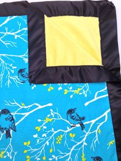 Bird on branches baby minky blanket with silky border. Blue and yellow