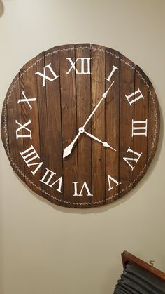 Farmhouse style reclaimed wood wall clock available at my Etsy shop @denimnheels