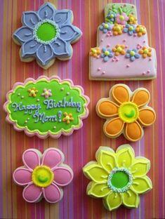 Flower Birthday Cookies by sonja Summer Cookies, Fancy Cookies, Sweet Cookies, Cut Out Cookies, Cute Cookies, Easter Cookies, Birthday Cookies, Cupcake Cookies, Cookie Cakes