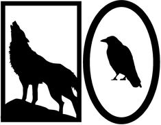 free halloween silhouettes templates free printable halloween decorations wolf and crow - Halloween Printables Decorations