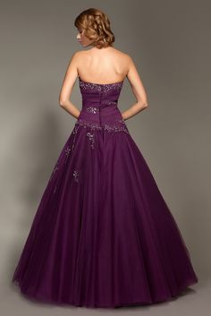 Elegant Strapless Pleated Bodice with Beading Work A-Line Prom Dress
