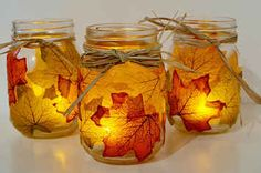 Fall mason jar crafts - 25 fall craft ideas using mason jars. Mason jar crafts for fall. Kids craft idea for fall. Fall decor using mason jars. Fall Mason Jars, Mason Jar Crafts, Mason Jar Diy, Mason Jar Candle Holders, Mason Jar Candles, Fall Candles, Diy Candles, Autumn Crafts, Holiday Crafts