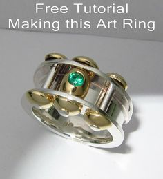 Free jewelry making tutorial on how to make this art ring. metalsmith, silver ring, making jewelry, diy, free jewelry tutorial, how to make a ring, on the bench
