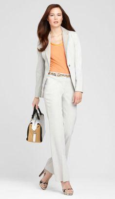 Love a good linen pant suit.    http://www.elietahari.com/Stretch-Linen-Pant-Suit/ETLOOKS20120040,default,pd.html?start=6=wear_to_work_women=wear_to_work_women