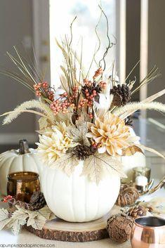 24 Pumpkin Flower Vases — White pumpkin vase with artificial flower arrangement