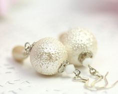 Ivory White Pearl Earrings Drops Glass Pearl by TrinketHouse