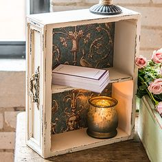 I LOVE this. What a fun and easy project for such a lovely touch. A good way to reuse/repurpose an old drawer. Vintage Inspired Display Drawer with Shelf                                                                                                                                                                                 More