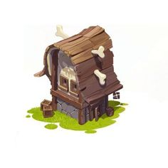 CG art | Pushai Cartoon Building, Building Art, Prop Design, Game Design, Casual Art, 2d Game Art, Cartoon House, Game Background, Game Concept Art