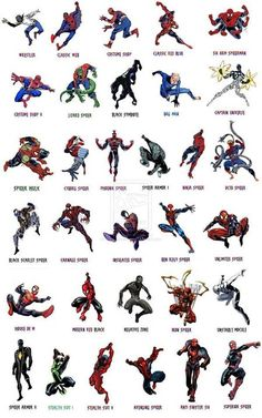 The many costumes of Spider-Man