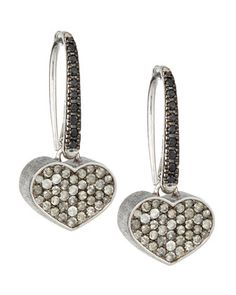2-Tone Diamond Pave Heart Earrings, Black/Ice by Nanis at Neiman Marcus Last Call.