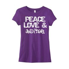 Ladies Anime T-Shirt Peace Love and Anime Shirt Otaku Cute Anime Tee... ($20) ❤ liked on Polyvore featuring tops, t-shirts, purple, women's clothing, checked shirt, unisex t shirts, flat top, peace sign t shirt and unisex shirts