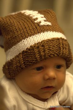 KNIT PATTERN - hat, football, slouch, beanie, cap, 5 sizes PDF pattern instant download