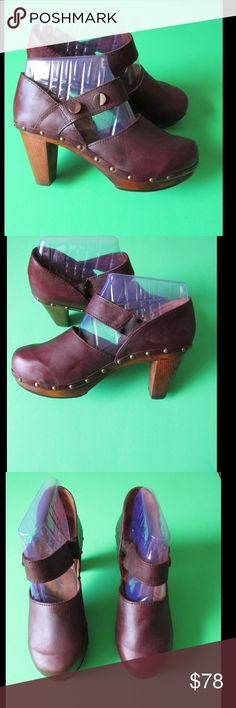 Leather! Burgundy Woodie T-Straps Clogs - Sanita Almost New. These pair of wood clogs are simply spectacular. Soft and comfy material. 3 inches heel more or less. Gorgeous color and exquisite design. Size 11.0 - Negotiable Price. Sanitas Shoes Mules & Clogs