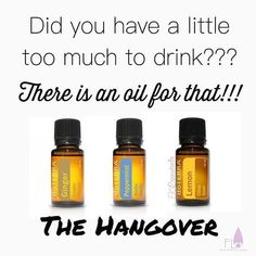 The Hangover Recipe - 3 drops of Ginger, 2 drops of Peppermint and 1 drop of Lemon in a hot (steaming) cup of water - 2 tbsp of honey and drink it (as a hot tea) Its yummy and it will make you feel like a rockstar! (You can also take that in a veggie cap! Hangover Essential Oils, Essential Oils For Nausea, Ginger Essential Oil, Essential Oils Guide, Essential Oil Uses, Easential Oils, Doterra Essential Oils, Doterra Blends, Lotion