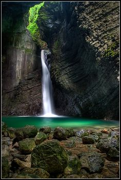 Zeliki Kozjak Waterfall, Kobarid, Slovenia by jernej Great Places, Places To See, Places Around The World, Around The Worlds, Beautiful World, Beautiful Places, Waterfall Photo, Waterfall Fountain, Voyage Europe