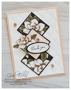Blue Rose Paper Treasures: Magnolia Lane One Sheet Wonder PDF TutorialYou can find Stampin up and more on our website. Tarjetas Stampin Up, Magnolia Stamps, Stampin Up Catalog, Fun Fold Cards, Stamping Up Cards, Card Sketches, Sympathy Cards, Paper Cards, Flower Cards