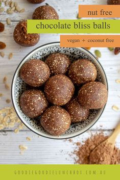 These Nut Free Chocolate Bliss Bites are perfect for the school lunches. No added sugar and free from nuts and coconut they'll be a lunchbox hit. Easy Snacks For Kids, Healthy Toddler Meals, Snacks To Make, Healthy Kids, Healthy Meals, Healthy Food, Healthy Recipes, Lunch Box Recipes, Snack Recipes
