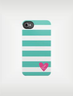 Teal Green Owl Beach Stripe iPhone 5 Case 4 / 4S or 3G or Samsung Galaxy - Option to Personalize