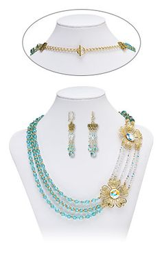 Multi-Strand Necklace and Earring Set with Swarovski Crystal, Gold-Plated Steel Focals and Gold-Plated Brass Beads
