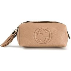 Beige calf leather 'Soho' make up bag from Gucci featuring a front embossed logo stamp, a top zip fastening, a pebbled leather texture and a tassel detail. Mea…