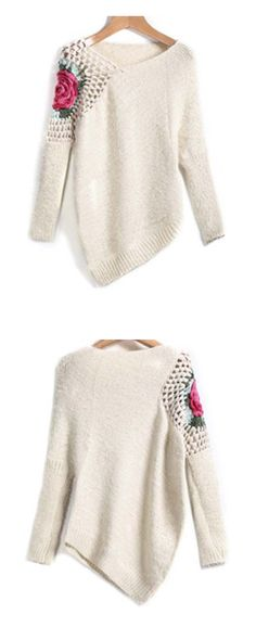 Apricot Round Neck Floral Crochet Loose Sweater --Sheinside.com