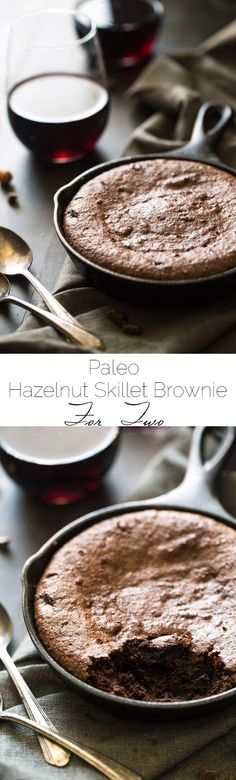 Hazelnut Paleo Brownies for Two - Ultra rich and fudgy you would never know these are gluten free and healthy! So easy and ready in under 30 mins! | Foodfaithfitness.com | @FoodFaithFit