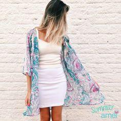 Um dia de verão fresquinho☀️ #lojaamei #etiquetaamei #kimono #muitoamor #saia #cropped #moda #verão
