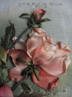 Silk ribbon embroidery for beginners SilkribbonembroideryThese are easy yet profitable DIY crafts anyone can make and sell for . Ribbon Flower Tutorial, Ribbon Embroidery Tutorial, Silk Ribbon Embroidery, Embroidery Stitches, Embroidery Patterns, Hand Embroidery, Bow Tutorial, Floral Embroidery, Ribbon Art