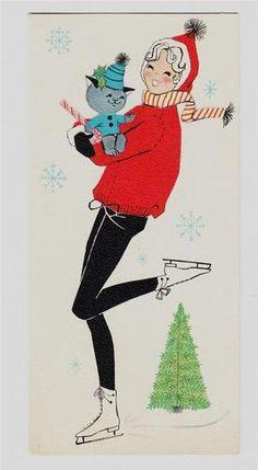 Vintage mid-century Christmas card, 1950s figure skater  MCM