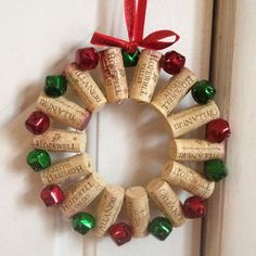 Use your corks to create a mini wreath that's perfect for hanging from your front doorknob. Supplies: 14 corks 14 small bells Floral wire Drill Ribbon Hot glue gun (optional)