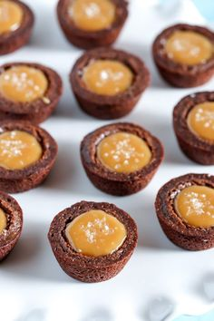 Homemade fudgy brownie bites filled with an easy two-ingredient caramel filling and topped with sea salt. These Salted Caramel Brownie Bites are the perfect mini dessert!