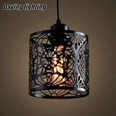 BGTJZY Pendant Lighting Chandelier for Kitchen Island and Dining Room Lving Room Bedroom Single Head iron engraving Diameter 15 cm high Pendant Lights Black Chandelier, Chandelier Ceiling Lights, Pendant Lighting, Chandeliers, Kitchen Pendants, Industrial, Led, Hanging Wire, Retro