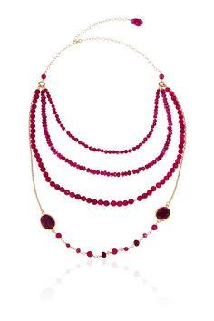 Multi capas collar de rubíes por toosis en Etsy