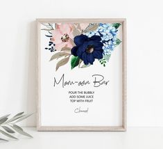 Baby Shower Items, Floral Baby Shower, Mimosa Bar Sign, Bridal Shower Signs, Bridal Showers, Gender Reveal Decorations, Baby Shower Gender Reveal, Bar Signs, Floral Watercolor