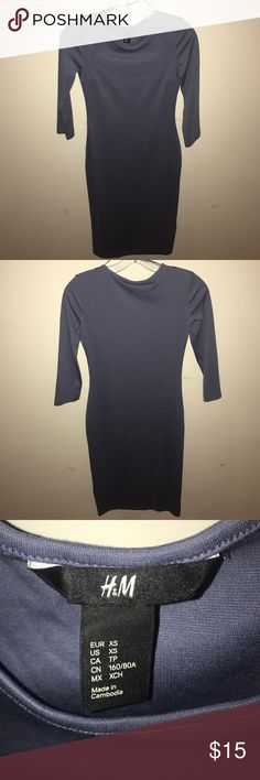 "H&M Gray Blue Bodycon Dress- size xs Cute H&M blue gray bodycon midi dress. Size XS. Back of the shoulder to the hem measures 40"". WORN ONCE and in great condition! H&M Dresses Midi"