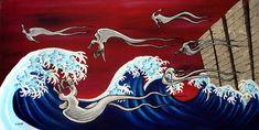 The Gaslight Anthem - original cover art for Sink or Swim, 2006, 4x2 feet, acrylic on wood