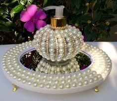 Pearl lotion dispenser and stand Bling Bathroom, Pearl Crafts, Antique Perfume Bottles, Altered Bottles, Wedding Boxes, Jewellery Display, Homemade Gifts, Candle Jars, Just In Case